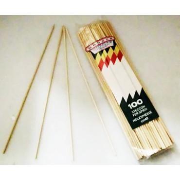"""Stecchini giganti in legno di betulla cm 40, spessore mm 5, per spiedini lunghi """"Mangia col panino"""", confezioni da pz 100."""