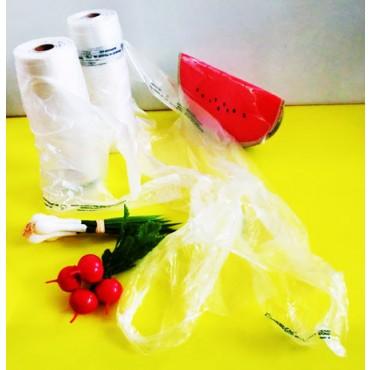 Sacchetti per ortofrutta compostabili monouso usa e getta, con maniglie, per supermercati, negozi di frutta e verdura e alimentari. In rotoli da 200 pezzi - 200 strappi.