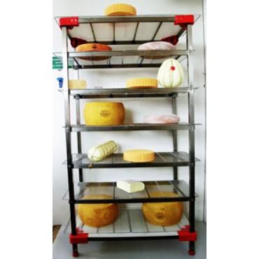 Scaffalature inox AISI 304 auto portanti con 5-6-7 ripiani grigliati inox, per stagionatura formaggi, con piedini regolabili con vite inox - PREZZI DA SCONTARE.