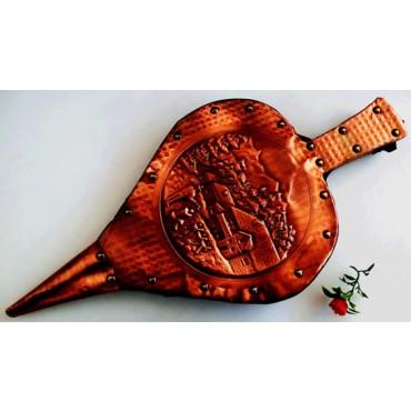 Soffietto in legno e rame cm 53, accendibrace per camini, barbecue, cuocispiedini. Complemento d'arredo molto decorativo.
