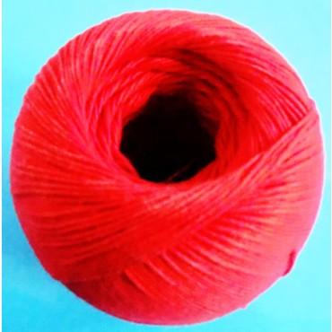Spago in poliestere cotonato in gomitoli, colore rosso, tit. 2/4, per legatura manuale dei salumi, confezioni gomitoli da grammi 150 circa.
