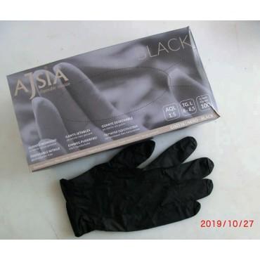Guanti in nitrile monouso usa e getta, senza polvere, colore: nero, taglie: piccola, media e grande, confezioni da 100 pezzi.