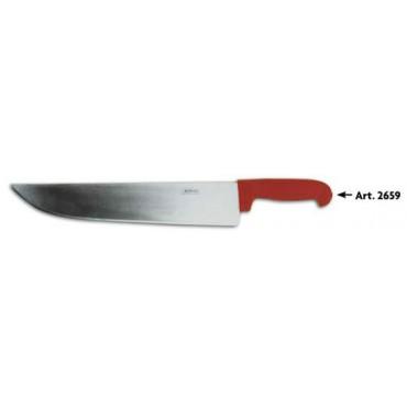 Coltello Morgan inox lungo da fette, manico rosso, lunghezza lama cm 36 altezza cm 7, alta qualtà.