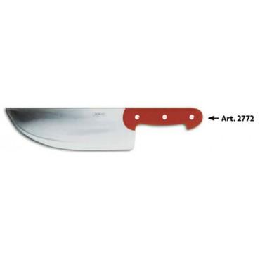 Coltello Morgan inox da colpo (per ossi, costole, bistecche di bovino ecc.) manico rosso ABS plastica, lunghezza lama cm 28, peso Kg 1, alta qualità.