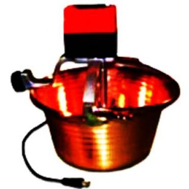 Paiolo elettrico rame martellato, fondo piano, per polenta, litri 14, diametro 38 cm, motore W 30.