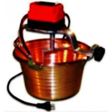 Paiolo elettrico rame martellato, fondo piano, per polenta, litri 4, diametro 26 cm, motore W 5.
