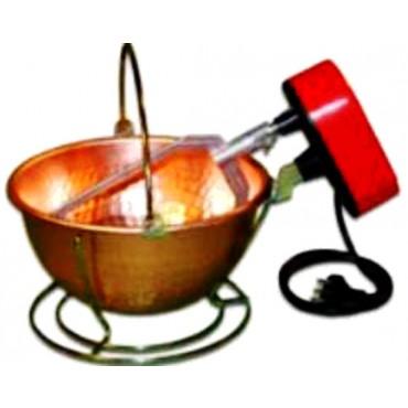 Paiolo elettrico rame liscio, fondo tondo, per polenta, capacità litri 9 effettivi, diametro 33 cm, con motore potenziato W 24.