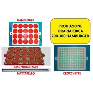 Hamburgatrice manuale modello grande multimpronta, produzione oraria 200-300 hamburger, oppure 900 polpette.