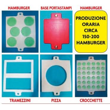 Pressatrici o stampi per hamburger con forme fantasiose, polpette e pronti a cuocere, mod. medio cm 42x31.