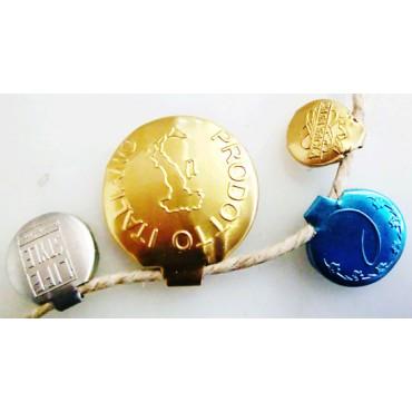Collection di sigilli di garanzia personalizzati, in metallo, per chiusure di prodotti alimentari, abbigliamento, conserve, prodotti di erboristeria - 7 ARTICOLI SONO DA SCONTARE.