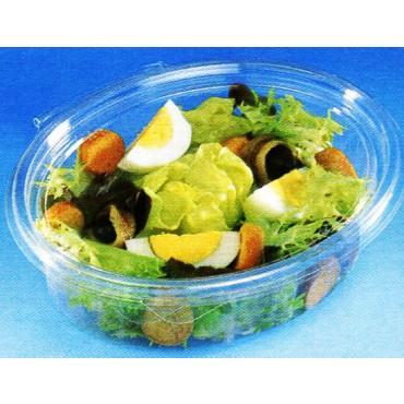 Vaschette in PET uso freddo da gastronomia, con coperchio attaccato, di forma rettangolare/ovale, trasparenti, lisce.