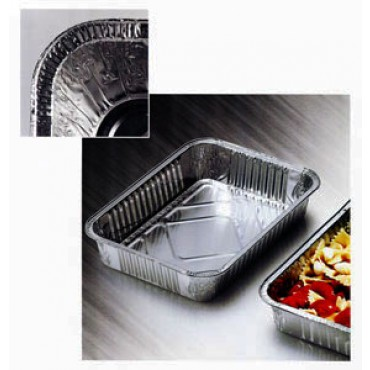 """Contenitori o vaschette in alluminio monouso per alimenti, bordo a """"G"""" - in offerta promozionale, per cartoni interi, per uso professionale."""