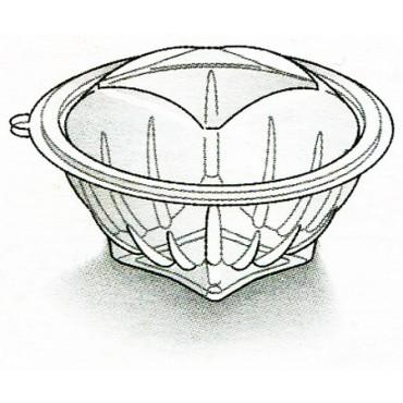 Vaschette in PET uso freddo per insalate, macedonie di frutta, dolci ecc., con coperchio attaccato, di forma rotonda, trasparenti, lisce.