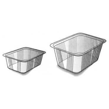 Vaschette da gastronomia trasparenti termosaldabili.