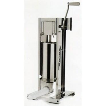 Insaccatrice professionale Reber in acciaio inox litri 5 a 2 velocità, ad uso verticale e orizzontale, ingranaggi in acciaio.