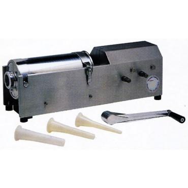 Insaccatrici orizzontali a 2 velocità modelli L7 - L14 di grande robustezza, completamente in acciaio inox, modelli professionali per macellerie e norcinerie, con anche la cremagliera inox, con valvola di sfiato, complete di 3 imbuti in plastica.