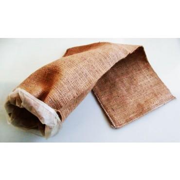 Balle scure in tela di juta cucite, con budello Fibrous per alimenti all'interno, per coppa di testa, soprassata e testa in cassetta.