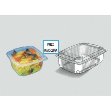 Vaschette da gastronomia con coperchio a cerniera, di forma rettangolare, per uso caldo e freddo, anche in microonde. Modello NEW.