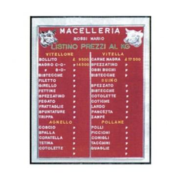 Listino prezzi Morgan da esporre all'interno dei negozi, cm. 50x30, rosso.