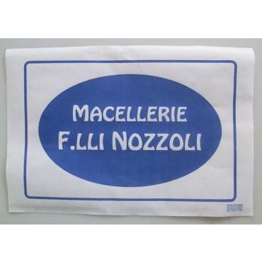 Carta accoppiata personalizzata gr 45 per involgere, per macellerie, di pura cellulosa - certificata con certificato ministeriale.
