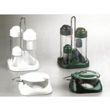 Menage e formaggere in plastica bianche e verdi