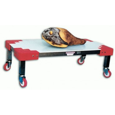 Pianale a carrellino inox con ruote rosse, supporto inox e ripiano.