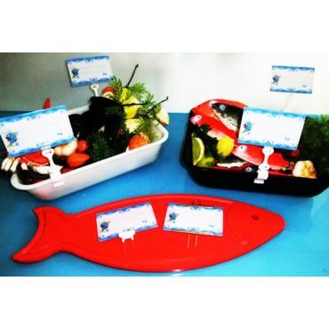 Segnaprezzi pescheria in plastica certificati per alimenti, cm 13x8 con pesce stilizzato, e accessori.