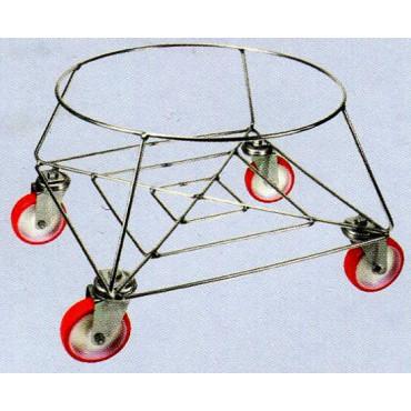Portabidone in filo inox 18/8, completi di ruote girevoli in nylon diametro mm 100, con supporto inox 18/8.