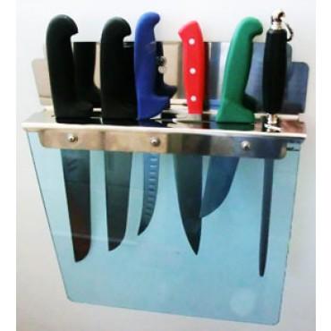 Portacoltelli Morgan inox marca Alce, con protezione in plexiglass trasparente, per tavoli, ceppi ecc.