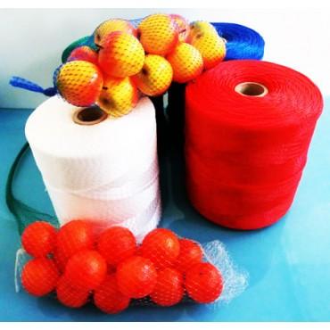 Rete in plastica per confezionamento frutta, frutta secca, formaggi, caciocavallo, provole, aglio, cipolle, arance, mele ecc.