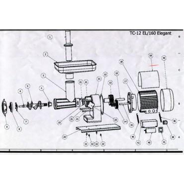 Ricambi per tritacarne elettrici TRE SPADE - 12EL/160 Elegant - 12 EL ECO. Codice macchina: 19000/VE - 19000EC.