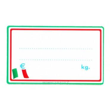 Segnaprezzi per supermercati e negozi di generi alimentari, ideali per tutti i tipi di alimenti italiani, in plastica certificata per alimenti, cm 13x8 oppure cm 11x6, con strisce tricolore bianche, rosse e verdi, tricolore stilizzato + accessori.