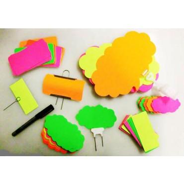 Segnaprezzi in cartoncino fluorescente in varie forme e colori assortiti, confezioni da pz 50.