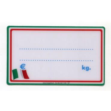 Segnaprezzi tricolore ideali per tutti i tipi di alimenti italiani, grandi, cm 13x8, in plastica per alimenti, con tricolore stilizzato, prezzi per confezioni da 10 pezzi.