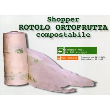 Shopper Roll ortofrutta biodegradabile compostabile cm 22+6+6x50, prezzo per 1 rollo da 200 strappi.