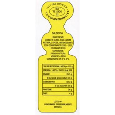 Sigilloni per salumi mm 86x30 con tabella nutrizionale, ingredienti, bollo CE e personalizzazione; stampati in rilievo senza inchiostri di stampa: pertanto idonei ad andare anche a diretto contatto con l'alimento.