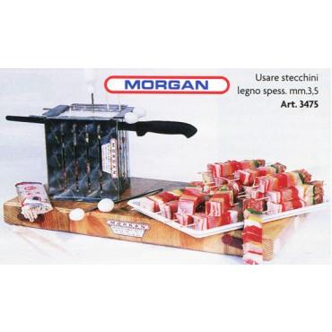 Macchinette per spiedini o tagliaspiedini professionali, in acciaio inox AISI 304-18/10 amagnetico, con sportello apribile e regolazione dell'altezza. Fabbricate dalla Morgan per macellerie, salumifici, industrie alimentari e supermercati.