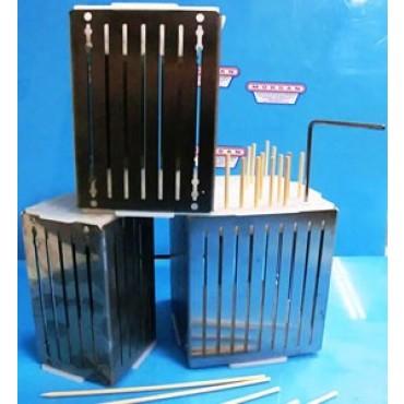 Taglia arrosticini - cubo - in acciaio inox con 1000 stecchini in legno - prezzi in offerta.