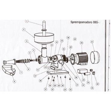 "Ricambi per spremipomodoro Tre Spade modelli ""BIG"" (tutti) 16000/BA - 17000/III - 17000BIE - 17500FII - 19200/III"