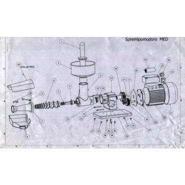 """Ricambi per spremipomodoro elettrico Tre Spade modello """"Med Junior"""" 17400J/I"""