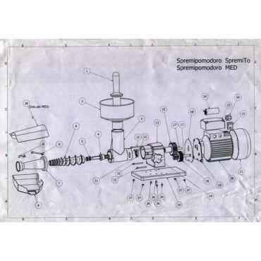 """Ricambi per spremipomodoro elettrici Tre Spade modelli """"SpremiTo"""" 14000/P - 14000/I"""