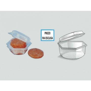 Vaschette per hamburger per macellerie e gastronomie, con coperchio a cerniera, di forma ottagonale, monouso. Modello NEW. In cartoni interi.