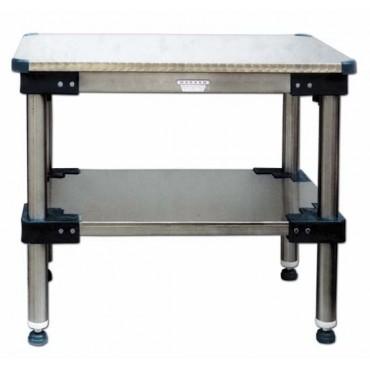 Tavoli da lavoro con piano sopra e sotto in acciaio inox AISI 304 18/10, tipo pesante -piano sopra con angoli in plastica stondati.