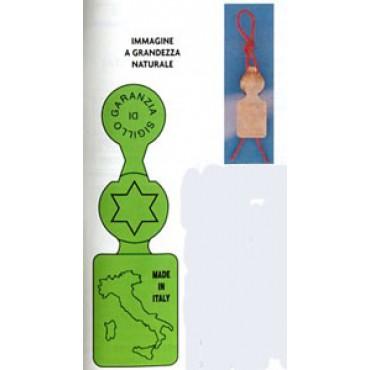 Sigilli per abbigliamento, prodotti alimentari e vari usi mm 64x19,5, mod. Bandiera, in alluminio laccato.