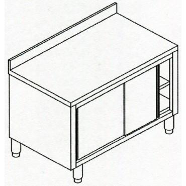Tavoli armadiati in acciaio inox AISI 304, con ante scorrevoli ed alzatina, per ristoranti e lavorazioni alimentari.