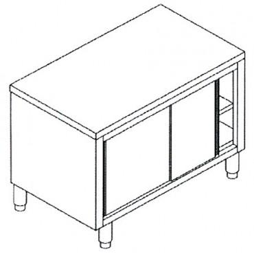Tavoli inox in acciaio inox AISI 304 armadiati con ante scorrevoli - PREZZI DA SCONTARE.