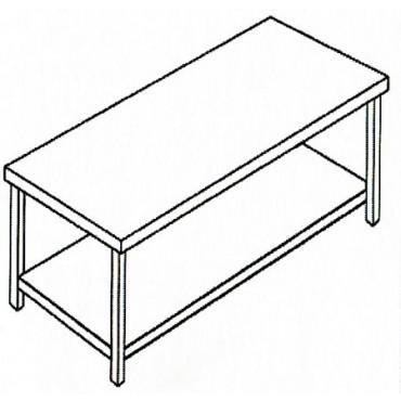 Tavoli da lavoro modello standard in acciaio inox AISI 304, con ripiano sotto, per ristorazione, catering, supermercati e lavorazioni alimentari.