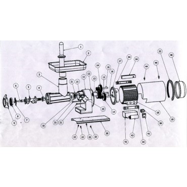 Ricambi per tritacarne elettrici TRE SPADE - 22 Professional - 22 Elegant - 22 Elegant Plus - 22 EL ECO. Codice macchina: 19500S - 19500/I - 19500 - 19500EC.