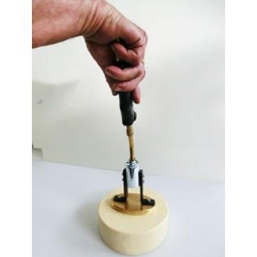 Timbro a fuoco in ottone-bronzo per formaggi, con bruciatore a gas.