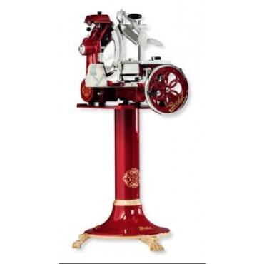 Affettatrice originale Berkel mod. Tribute, rossa, a volano fiorato, lama mm 300. Con piedistallo o senza.